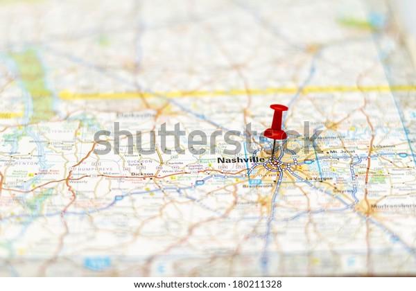 Travel Destination Road Map Nashville Area Stock Photo (Edit ...