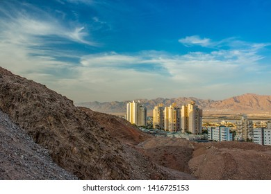 travel destination and tourist photography of Israeli city Eilat scenic landmark shot from above place in rocky desert outskirts highland environment
