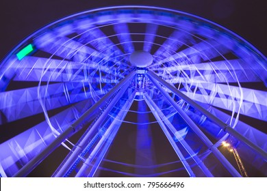 Travel Destinations and Concepts. Closeup of The Big Wheel in Helsinki in Finland. Shot Using Long Shutter Speed at Night Time Prior to Christmas. Horizontal Image Composition
