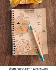 travel diary on wood table