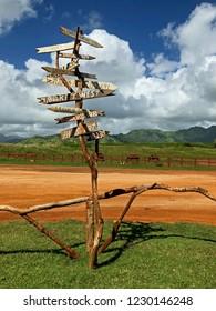Travel Distance Signs, Kauai, Hawaii