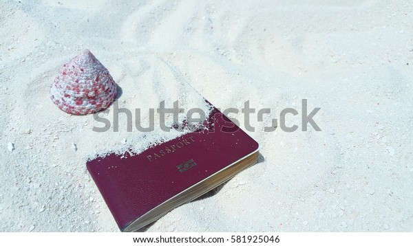 A travel document passport and shell on the white sand beach background