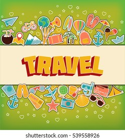 Travel - Doodle Elements. Thin Line Icons.  Illustration