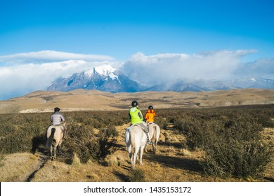 Travel enjoy riding house in Torres del Paine National Park mountain landscape , Patagonia - Chile