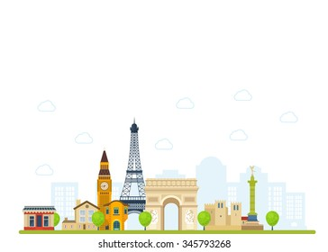 Travel to Europe. French and England landmarks. Travel to France. Eiffel tower, Notre Dame in Paris, France. London travel. Historical and modern building.