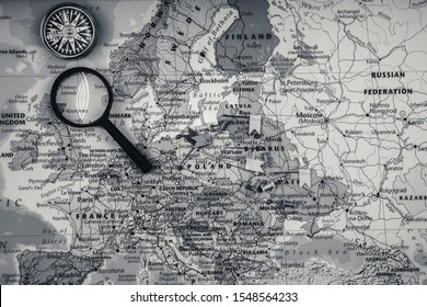 travel in Europe map background