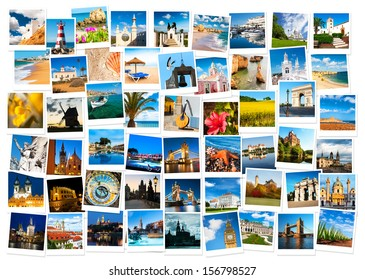 Travel in Europe and nature collage