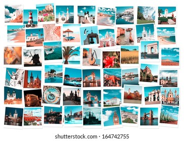 Travel in Europe and nature collage, toned images