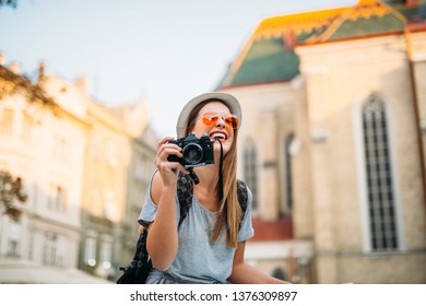 Travel to Europe, tourist on the street, summer holidays
