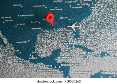 travel felt painted map with pin , america