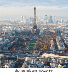 travel to France - above view of Eiffel Tower and La Defence district in Paris city in winter sunset from Tour Maine - Montparnasse (Montparnasse Tower)