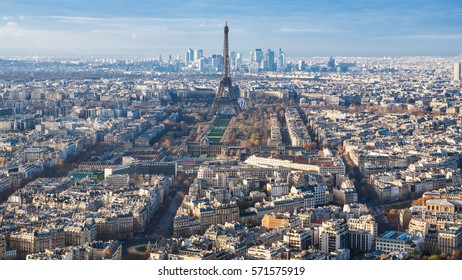 travel to France - above view of Eiffel Tower and Paris city in winter twilight from Tour Maine - Montparnasse (Montparnasse Tower)