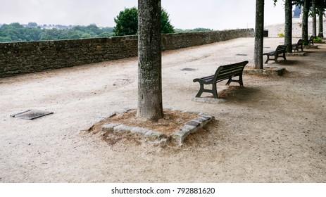 travel to France - belvedere at Promenade de la Duchesse Anne of the Jardin Anglais ( English garden) in Dinan town in rain
