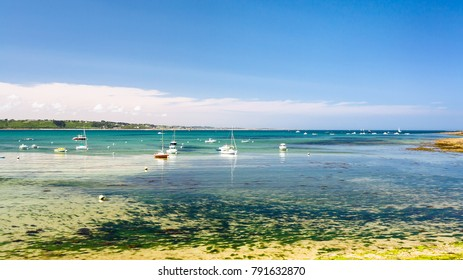 travel to France - view of bay Anse de Perros of English Channel near Perros-Guirec commune on Pink Granite Coast of Cotes-d'Armor department in the north of Brittany in sunny summer day