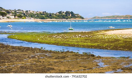 travel to France - view of Perros-Guirec town through estuary of river Kerduel and bay Anse de Perros in Cotes-d'Armor department in the north of Brittany in sunny summer day