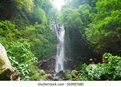 Travel and freedom. Tropical waterfall view. Bali