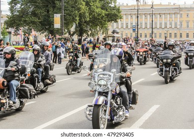 Travel further on a group of bikers. St. Petersburg, Russia - 13 August, 2016. The annual parade of Harley Davidson in the squares and streets of St. Petersburg.