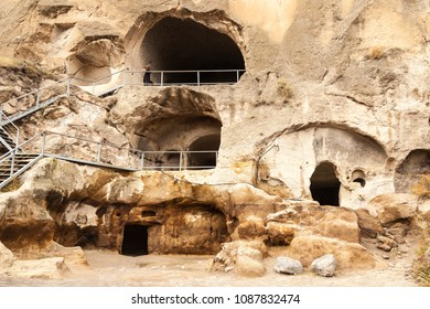 Travel to Georgia - room in artificial ancient cave city in Vardzia. Most popular georgian attraction