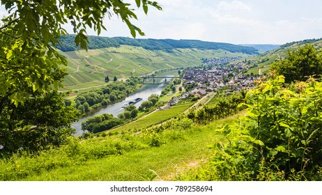 travel to Germany - above view of town in valley of Mosel river in Cochem - Zell region on Moselle wine route in sunny summer day