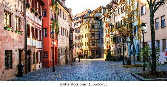 Travel in Germany - charming traditional streets of old town in Nuremberg(Nurnberg) Bavaria