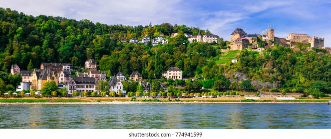 travel in Germany - cruise over Rhine valley . Picturesque Sankt Goar town and castle Burg Rheinfels