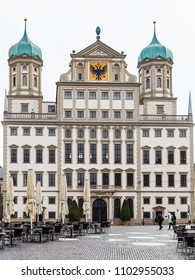 Travel to Germany - front view of Town Hall (Augsburger Rathaus) in Augsburg city in rainy spring day
