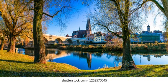 Travel in Germany - picturesque Regensburg town over Danube river . Landmarks of Bavaria