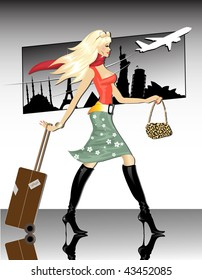 Travel Girl(jpeg)in the gallery also available vector version of this image