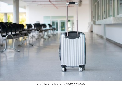 Travel Gray Luggage or suitcase at airport.Lost luggage while travelling to hotel.Tourist forget suitcase in international airline terminal.Baggage Travel concept