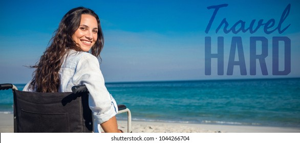 Travel hard against portrait of disabled woman