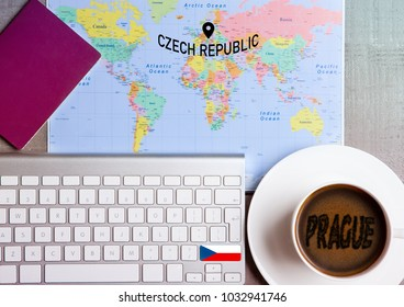 Travel holiday concept with coffee and map with flag on keyboard and passport on wooden table. Travel to Ireland Dublin