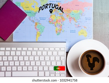 Travel holiday concept with coffee and map with flag on keyboard and passport on wooden table. Travel to Rome Italy