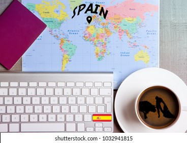 Travel holiday concept with coffee and map with flag on keyboard and passport on wooden table. Travel to Greece