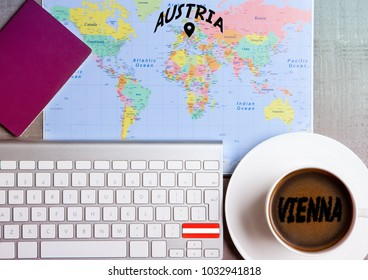 Travel holiday concept with coffee and map with flag on keyboard and passport on wooden table. Travel to Switzerland