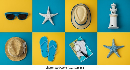 Travel holiday vacation minimal concept with beach items. Top view from above. Flat lay