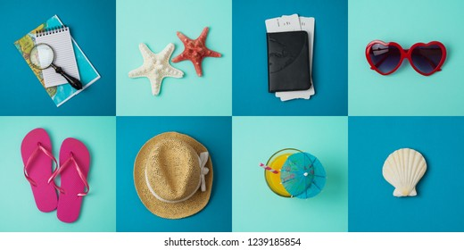 Travel holiday vacation minimal concept with beach and travel items. Top view from above. Flat lay