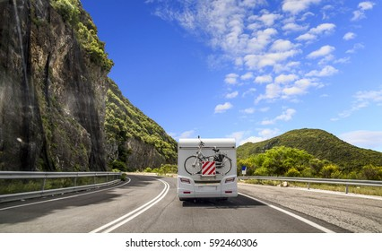 travel for holidays caravan tripe road turn , spring