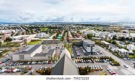 travel to Iceland - aerial view of Eiriksgata and Leifsgata streets in Reykjavik city from Hallgrimskirkja church in autumn