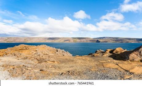 travel to Iceland - panoramic view of Kleifarvatn lake at Southern Peninsula (Reykjanesskagi, Reykjanes Peninsula) in september
