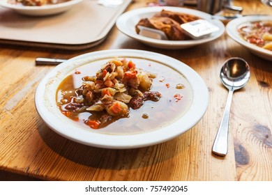 travel to Iceland - plate with Kjotsupa, traditional Icelandic Lamb Soup in Reykjavik city restaurant in september