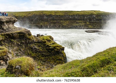 travel to Iceland - stream of Gullfoss waterfall in canyon of Olfusa river in september