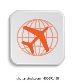 Travel icon. Internet button on white background.