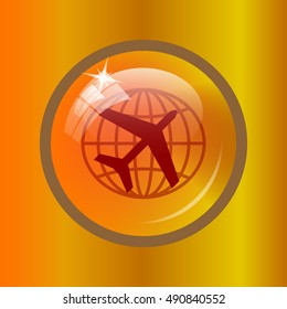 Travel icon. Internet button on colored background.