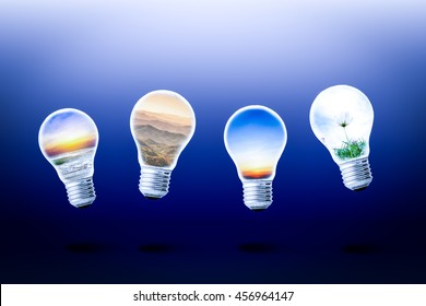 travel idea concept. beach, mountain and nature landscape in light bulbs