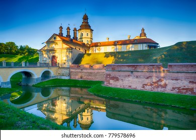 Travel Ideas and Concepts. Nesvizh Castle as an Example of Belarussian Historical Heritage of Radzivil Family. Shot from the Moat. Horizontal image