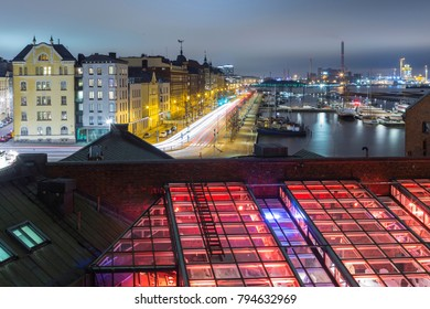 Travel Ideas and Destinations.Old Quay in Helsinki City at Night During Christmas Time.Horizontal Image