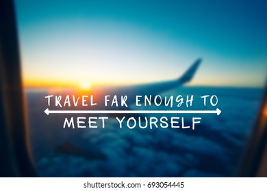 Travel Inspirational and motivational quotes - Your wings already exist, all you have to do is fly. Retro styled blurry background.