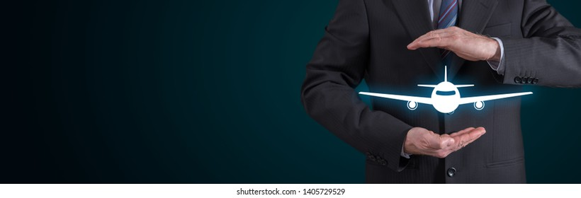 Travel insurance concept with businessman in a protective gesture