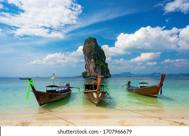 Travel to the island  sea  clear sky  water in Krabi  Thailand.