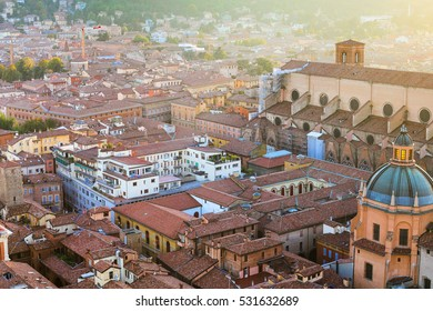 travel to Italy - above view of apartment buildinds in Bologna town from Torre Asinelli ( Asinelli Tower) at sunset